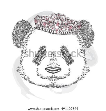 Panda in the crown. Vector illustration for greeting card, poster, or print on clothes.