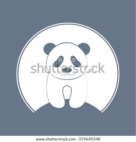 Panda logo on a colored background. Vector illustration.
