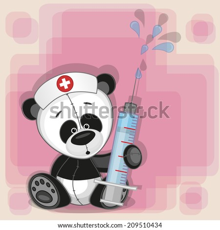 Panda nurse with a syringe in his hand  - stock vector