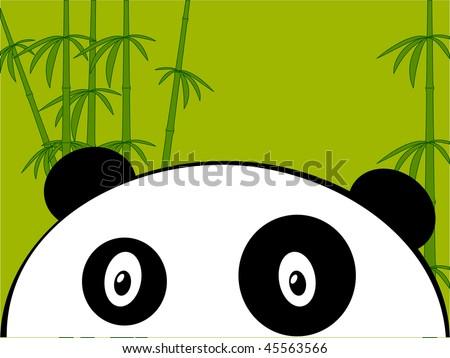 Panda on a green bamboo - stock vector