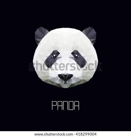 panda. polygonal graphics. vector illustration - stock vector