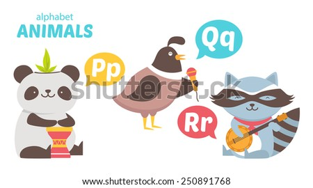 Panda, Quail, Raccoon - stock vector