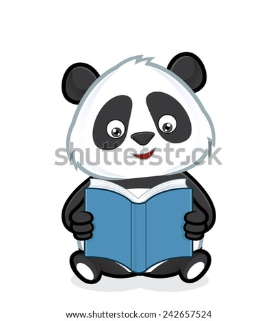 Panda reading a book - stock vector