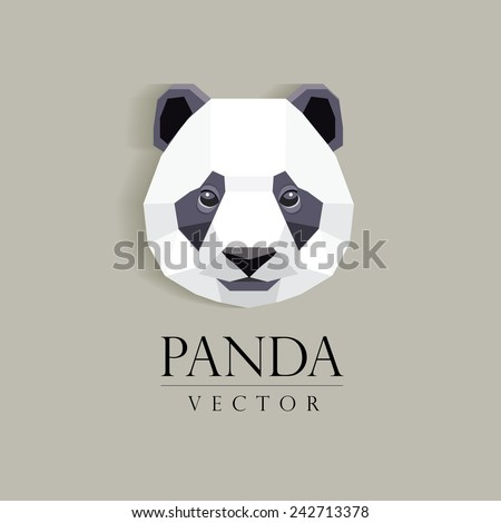 panda`s head low poly geometric polygonal flat design style logo element- company mascot vector illustration - stock vector