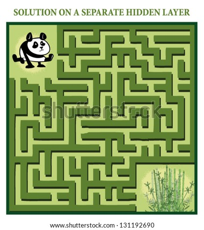 Panda's Maze Game (help the hungry panda find the right way to his bamboo) - Maze puzzle with solution - stock vector