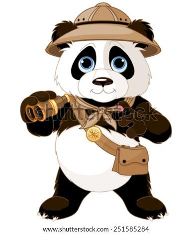 Panda  safari explorer with binoculars - stock vector
