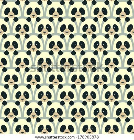 Panda seamless cartoon pattern - stock vector