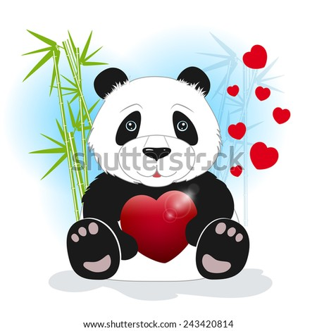 Panda sits among the bamboo and keeps the heart on a white background, behind bamboo stalks with hearts,  vector illustration - stock vector