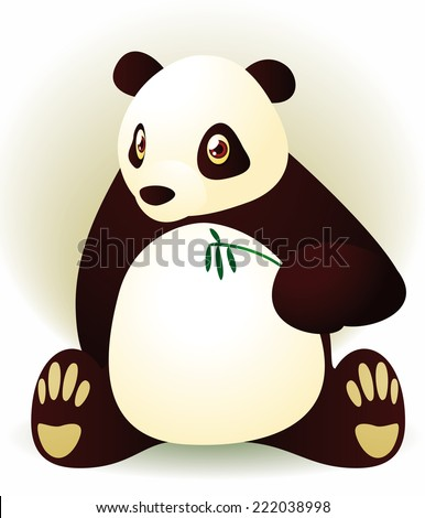 Panda sitting down eating some bamboo, cutest panda - stock vector