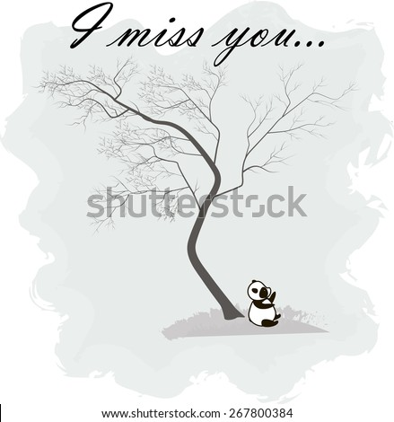 Panda sitting under a tree. Text: I miss you, vector illustration - stock vector