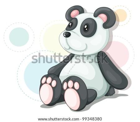 Panda teddy illustration - stock vector