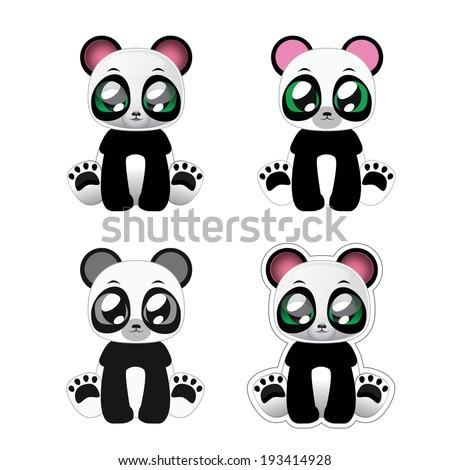 panda variants - stock vector