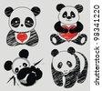 panda vector - stock vector