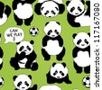 Panda wants to play football / Children's seamless pattern - stock vector
