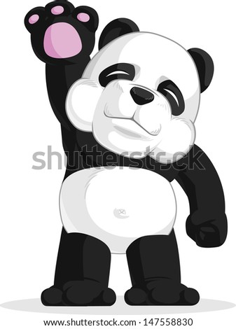 Panda Waving His Hand - stock vector