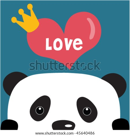panda with big love 5 - stock vector