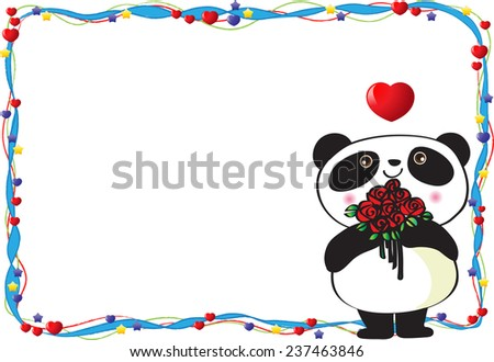 panda blank valentines day card stock vector 237463846 - shutterstock, Ideas