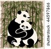pandas family  in the bamboo forest. EPS 10 - stock vector