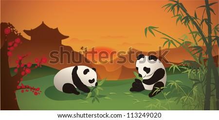 Pandas having dinner at sunset - stock vector