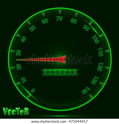panel speedometer with glowing effect, the color green with the red arrow