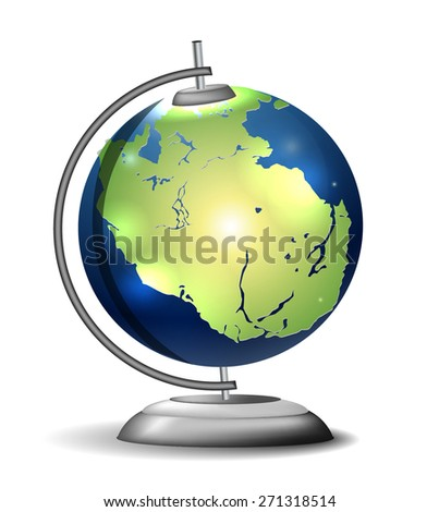 Pangaea school globe - stock vector