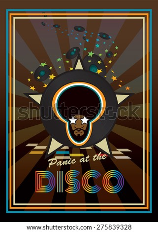 Panic at the disco.Disco party retro poster design  - stock vector