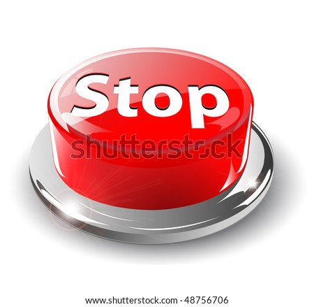 Panic button, 3d red glossy metallic, vector.