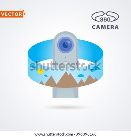 panorama camera, camera 360, camera vr - stock vector