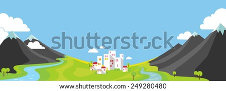 Panorama landscape with wountains and small city in green valley in flat style - stock vector