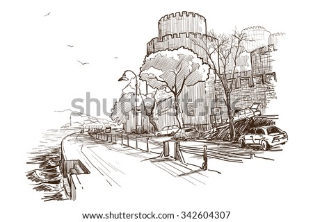 Panorama of Bosphorus strait seafront with Roumeli Hissar Castle. Sketch isolated on white background. EPS10 vector illustration.