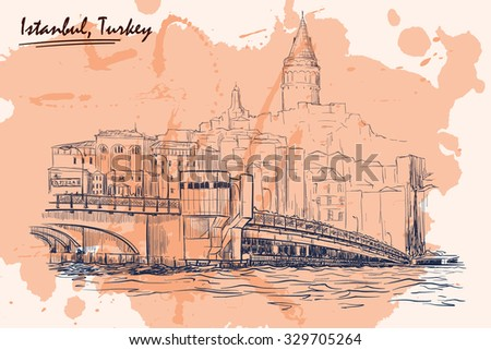 Panorama of busy Galata Bridge dominated by Galata Tower. Istanbul, Turkey. Sketch imitating ink pen drawing with a grunge background on a separate layer. EPS10 vector illustration. - stock vector