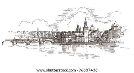 Panorama of Prague. View of Charles Bridge and the Vltava river embankment. Vector drawing - stock vector