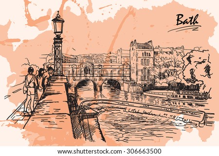 Panorama of river Avon and Georgian style Pulteney Bridge in the City of Bath, UK. Sketch drawing imitating ink pen drawing with a grunge background on a separate layer. EPS10 vector illustration.