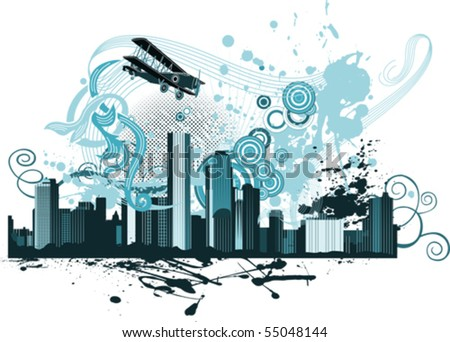 Panorama of the city. All elements and textures are individual objects. Vector illustration scale to any size. - stock vector