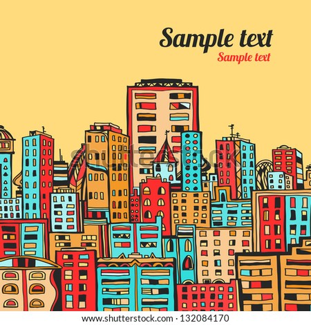 Panorama of the city cartoon illustration - vector - stock vector