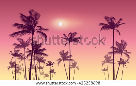 Panorama of  tropical palm tree landscape  at sunset. Highly detailed  and editable - stock vector