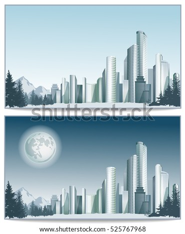 Panorama of vector city with big buildings. City downtown in day and night.