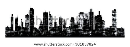 Panorama picture of city skyline - stock vector