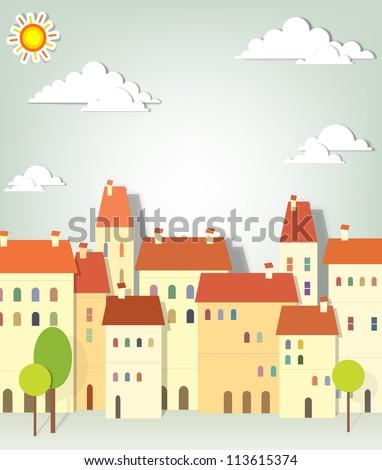 panorama town - stock vector