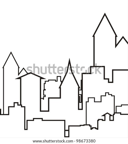 panorama town - stock vector