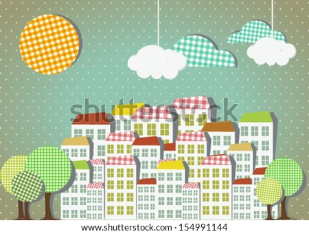 panorama town,city background made of paper  - stock vector