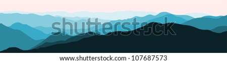 Panorama vector illustration of mountain ridges (based on the Smokey Mountains)