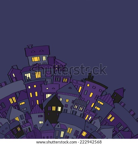 Panorama view old town at night with lighted windows in violet, vector illustration - stock vector