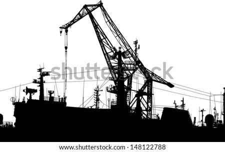 Panorama with the military ships and a crane and a radar - stock vector
