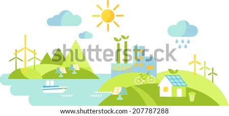 Panoramic landscape with ecology concept - stock vector