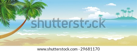 Panoramic tropical beach with palm - stock vector