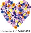Pansies flower bouquet shaped heart - stock vector