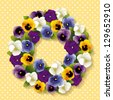 Pansy Wreath. Spring garden flowers in purple, lavender, gold, blue and white, Viola hortensis. White polka dots on pastel yellow background with copy space. EPS8 compatible. - stock vector