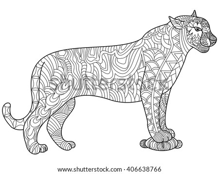 panther coloring book for adults vector illustration cat anti stress coloring for adult - Coloring For Adults