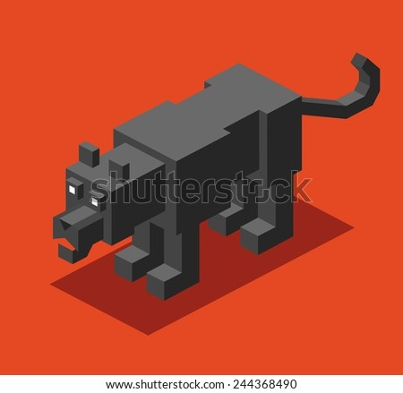 panther. 3d pixelate isometric vector - stock vector